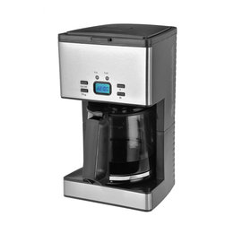 Kalorik - Stainless Steel Coffee Maker - 12 Cup by Kalorik - This unit features an elegant LCD display that stays lit during the entire brewing process. The unit comes with a tempered glass carafe for its exceptionally high brewing temperature. Not only does this unit make 12 cups of coffee, it also has an oversized showerhead and contains an anti-drip function. Other highlights include a 2-hour auto shut-off and a keep warm function.