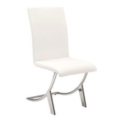 "Eurostyle - Eurostyle Cordelia Leatherette Side Chair w/ Chromed Base in White [Set of 4] - Leatherette Side Chair w/ Chromed Base in White belongs to Cordelia Collection by Eurostyle Leatherette seat and back on steel frame. Fully welded, chromed steel legs; 25mm diameter, 2mm thick. More colors. Seat height: 18.25"". Side Chair (4)"