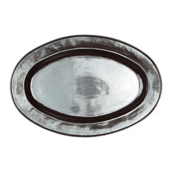 Pewter Stoneware Oval Platter - Large - The shimmering grey of burnished pewter illuminates your table and your  epicurean masterpieces when you present the Pewter Stoneware Oval Platter. The oval form is traditional, yet the sleek lines and minimalist design is decidedly modern. A dazzling addition to your dinnerware whether you're hosting a holiday f�te or an impromptu gathering of dear friends.