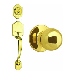 DHI-Corp - Sussex 2-Way Latch Entry Door Handle Set with Knob Handle and Keyway, Adjustable - The Design House 753640 Sussex 2-Way Entry Handle Set features a lock handle in polished brass. The round knob handle fits comfortably in your hand and the satin nickel finish blends with a variety of decor options, adding a touch of elegance to your decor. The scalloped handle set has a reversible handle for right or left hand doors and includes a radius and latch plate. It fits doors 1-3/8-inches to 1-3/4-inches thick. The 2-way latch is adjustable from 2-3/8-inches to 2-3/4-inches. This product comes with a door handle, knob and keyway and is ANSI Grade-3 certified, which means this kit is rated for residential security. Design House 753640 Sussex 2-Way Entry Handle Set comes with a limited lifetime mechanical warranty and a 5-year finish warranty that protect against defects in material and workmanship. IThis product is ANSI Grade-3 certified, which means this knob is rated for residential security. Design House offers products in multiple home decor categories including lighting, ceiling fans, hardware and plumbing products. With years of hands-on experience, Design House understands every aspect of the home decor industry, and devotes itself to providing quality products across the home decor spectrum. Providing value to their customers, Design House uses industry leading merchandising solutions and innovative programs. Design House is committed to providing high quality products for your home improvement projects.