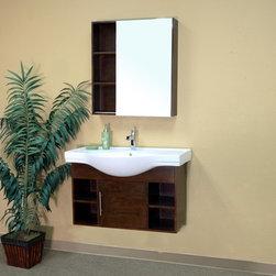 Bellaterrra - Bellaterra 203132 40.5 In Single Wall Mount Style Sink Vanity-Wood-Walnut - 40.5 - Bellaterra 203132 40.5 In Single Wall Mount Style Sink Vanity-Wood-Walnut - 40.5x20.1x25.5 in.