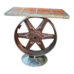 Recycled Salvage Chain Art Design - Industrial Bar Table, Rustic Furniture by Recycled Salvage - Designed and made by Rusty Gold at Recycled Salvage, large wheel was salvage from an old pump jack used on oil rig many years ago.