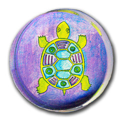 Paper Scissors Rock - Turtle Knob - Our decorative knobs are exclusively available on Houzz.com. They will brighten up any cabinet, drawer or piece of furniture. Each one starts with an original watercolor by artist Pamela Corwin, which is reproduced and encased in a durable and easy to clean acrylic. Standard 8-32 screw included.