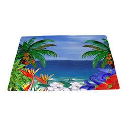 "xmarc - Beach Area Rugs, Tropical Floral Beach, 96""W X 48""Tall - Tropical floral beautiful beach plush area rug from my art."