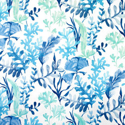 Ocean fabric coral blue aqua sea glass watercolor garden, Standard Cut - An ocean garden fabric. A garden with coral and plants in blue and green sea glass watercolor tones.