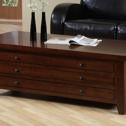 None - Walnut Cherry Navigator Coffee Table - The navigator coffee table is a handsome walnut cherry color decor will fit into any home decor, and features three slim drawers with metal extension drawer glides for storage. The table measures 51 inches long x 24 inches wide x 17.5 inches high.