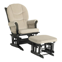 Dutailier - Multipositional Sleigh Reclining Glider Chair w Gliding Ottoman (Beige) - Fabric: Beige. Exclusive glide system. Top quality sealed ball bearings. Multi position mechanism allows to stop the glider at the desired position. Reclining mechanism allow backrest to fully adjustable. Removable foam cushions and padded arms. Easy care micro fiber fabric. Frame made from hardwood. Minimal assembly required. Espresso finish. Made in Canada. Chair: 31 in. W x 27 in. D x 42.5 in. H. Ottoman: 20 in. L x 18 in. W x 14.75 in. HThis Sleigh glider and ottoman combo offers an exceptionally smooth and extra long glide motion with thick cushions and padded arms that will add class and elegance to your decor. There are no sharp edges, the finish is toxic free and this product meets all safety standards.