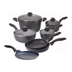 "Swiss Diamond - Swiss Diamond Nonstick 10-Piece Cookware Set + Bonus 9.5"" Crèpe Pan - Set your kitchen rights with this 10-piece nonstick cookware set, which comes with a bonus crèpe pan. Everything you need for delicious cooking with easy cleanup is here — and in a safe, stylish design to boot."