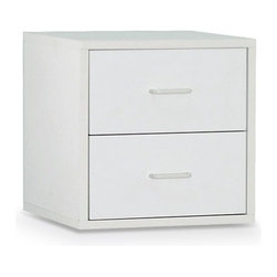 """Organize It All - 15"""" Two Drawer Storage Cube in White - 15"""" Two Drawer Storage Cube. MDF construction in a white glossy finish. Dimensions: 15 in H x 15 in D x 15 in W"""