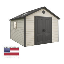 Lifetime - Lifetime 11 x 11 ft. Outdoor Storage Shed - 6433 - Shop for Sheds and Storage from Hayneedle.com! Additional features:Five 30 x 10-inch shelvesOne 30 x 14-inch shelfTwo 16-inch peg strips with tool hooksExterior dimensions: 10.3W x 10.3D x 9.3H feetInterior dimensions: 10W x 10D x 9.2H feetDoor dimensions: 4.8W x 6.4H feet An enduring investment that will also be a backyard attraction the Lifetime 11 x 11 Foot Outdoor Storage Building can be used as a gardening shed pool house workshop or tool shed. Featuring 786.6 cubic feet of space this outbuilding from Lifetime Sheds will store your riding lawnmower snow mobile all large gardening equipment off-season patio furniture and more. Constructed from high-density polyethylene (HDPE) plastic with powder-coated steel reinforcements this sturdy shed is weather- and- rust-resistant and designed to withstand the harshest elements for years to come. And since it is UV-protected and stain-resistant it requires no painting or maintenance.Double doors allow easy access to the inside while an internal spring latch interior deadbolts and an exterior padlock loop ensure the security of your property. Two lockable sliding windows two large skylights and two screened vents let in enough natural light so you can easily make your way around during the day. Five 30 x 10-inch shelves one 30 x 14-inch shelf and two 16-inch peg strips with tool hooks allow you to create the perfect storage area to suit your needs. This storage building comes with a 10-year limited manufacturer's warranty. Assembly is a weekend project for one or two people.About Lifetime ProductsOne of the largest manufacturers of blow-molded polyethylene folding tables and chairs and portable residential basketball equipment Lifetime Products also manufactures outdoor storage sheds utility trailers and lawn and garden items. Founded in 1972 by Barry Mower Lifetime Products operates out of Clearfield Utah and continues to apply innovation and cutting-edge technology in plastics and metals to create a family of affordable lifestyle products that feature superior strength and durability.