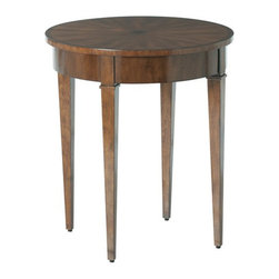 Arteriors Home - Arteriors Home Geneva Starburst Star Inlay/Wood Veneers Table - Arteriors Home 5 - Arteriors Home 5332 - A round wood veneer side table with starburst inlay top and a secret hidden drawer in the apron.