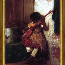 """Eastman Johnson-18""""x24"""" Framed Canvas - 18"""" x 24"""" Eastman Johnson Musical Instinct framed premium canvas print reproduced to meet museum quality standards. Our museum quality canvas prints are produced using high-precision print technology for a more accurate reproduction printed on high quality canvas with fade-resistant, archival inks. Our progressive business model allows us to offer works of art to you at the best wholesale pricing, significantly less than art gallery prices, affordable to all. This artwork is hand stretched onto wooden stretcher bars, then mounted into our 3"""" wide gold finish frame with black panel by one of our expert framers. Our framed canvas print comes with hardware, ready to hang on your wall.  We present a comprehensive collection of exceptional canvas art reproductions by Eastman Johnson."""