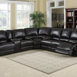 AC Pacific - Kevin Dual Reclining Sectional - Upholstered in  a Rich deep Merlow bonded leather. Seating Comfort: Medium. Seat Cushions attached. Back Cushions attached. Seating has heavy duty no sag springs with high density foam and Dacron fiber for added comfort. Our reinforced frames are built with selected hardwoods, glued and corner blocked for extra durability. All of our reclining mechanisims are built on a heavy duty steel rail system to give you years of trouble free use.. Assembly Required. When looking at the sectional the sofa and wedge measure 39 x 36 x 113.5. The loveseat and wedge measure 39 x 36 x 104.5.. Sofa: 82 in. L x 36 in. D x 39 in. H (165 lbs.). Loveseat: 73 in. L x 36 in. D x 39 in. H (154 lbs.). Wedge: 63 in. L x 36 in. D x 39 in. H (53 lbs.). Chair: 41 in. L x 36 in. D x 39 in. H (88 lbs.)This comfortable sectional consist of  dual reclining sofa, dual reclining lovseat, with console and a matching wedge.   This set will turn your living room into a luxurious place to kick back and watch a movie or visit with friends.