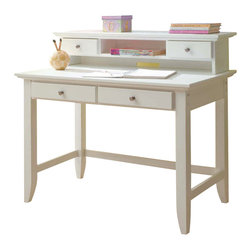 Home Styles - Home Styles Naples Student Desk and Hutch Set in White Finish - Home Styles - Writing Desks - 5530162 - The Naples Student Desk and Hutch Set has solid hardwood and engineered wood construction in a multi-step white finish. The student desk features two storage drawers on easy open glides for smooth operation. The hutch features two additional storage drawers, open storage areas and a wire management opening for your convenience. Add contemporary charm to your home office or kid's bedroom with the Naples Student Desk and Hutch Set.