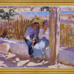 """Joaquin Sorolla Y Bastida-16""""x20"""" Framed Canvas - 16"""" x 20"""" Joaquin Sorolla Y Bastida Idyll, Javea framed premium canvas print reproduced to meet museum quality standards. Our museum quality canvas prints are produced using high-precision print technology for a more accurate reproduction printed on high quality canvas with fade-resistant, archival inks. Our progressive business model allows us to offer works of art to you at the best wholesale pricing, significantly less than art gallery prices, affordable to all. This artwork is hand stretched onto wooden stretcher bars, then mounted into our 3"""" wide gold finish frame with black panel by one of our expert framers. Our framed canvas print comes with hardware, ready to hang on your wall.  We present a comprehensive collection of exceptional canvas art reproductions by Joaquin Sorolla Y Bastida."""