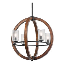 Kichler Lighting - Kichler Lighting KCH-43185-AUB Grand Bank Transitional Chandelier - This distinctive 4 light chandelier/ pendant from the Grand Bank collection creates a bold statement. The rich, Auburn Stained finish and Clear Seedy Glass will accent any space in your home.