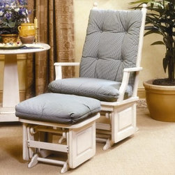 Brooks Furniture Coastal Glider Rocker - Give your room a casual, relaxed accent with the Brooks Furniture Coastal Glider Rocker. Made with solid wood and given a crisp white finish, this rocker looks great in any space. Its sealed ball-bearing mechanism is quiet and offers a smooth rocking action. Quality construction means this piece is made to last. Its thick, padded seat and back provide outstanding comfort. Choose from upholstery options to match your décor. Dacron fabric is easy to keep clean. Ottoman not included.About Brooks FurnitureBrooks Furniture was founded in 1954 in Middlesboro, KY, by Dr. J.H. Brooks, Sr. The product line began with solid cedar wardrobes and chests. Over the years, Brooks expanded its offerings to include an entire upholstery division, as well as dining room sets, occasional furniture, chairs, and recliners. A family-owned, fourth-generation company based in Tazewell, Tenn., Brooks is currently known for their wide selection of glider rockers. Like all their furniture, Brooks' glider rockers are manufactured with superior quality, style, and comfort in mind to provide you with the finest home furnishings available.