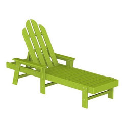 PolyWood Adirondack Chaise Lounge, Lime - This lounger is perfectly green and loaded with beachy style. Add a pillow and relax.