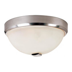 Joshua Marshal - Two Light Brushed Nickel White Frosted Bowl Glass Bowl Flush Mount - Two Light Brushed Nickel White Frosted Bowl Glass Bowl Flush Mount