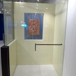 Shower Doors, walk-in shower with half wall -