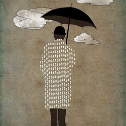 Artollo - Art Illustration Man With Umbrella A2 - 16.5x23.3 - Gallery quality paper print from hand drawn original, frame not included