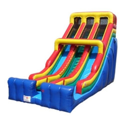 Kidwise - Kidwise 24 ft. Double Lane Inflatable Slide - Primary Colors - KE-SL3160 - Shop for Tents and Playhouses from Hayneedle.com! Boost the fun level of any gathering with the exciting sliding action of the Kidwise 24 ft. Double Lane Inflatable Slide. This dual slide attraction is the perfect addition to birthday parties church functions fairs festivals or block parties. It s made of durable 18-ounce colorful PVC vinyl and features safety netting and curved stop walls. It also comes complete with blower repair kit stakes tarp and even a blank banner for advertising. All slides come with replaceable high-density foam steps and replaceable slide blankets.About Kidwise ProductsThis item is made by Kidwise Outdoors a company whose focus is safe fun excitement for kids. Kidwise strives to promote safe play for kids of all ages through outside activities. Their line of products includes swing sets trampolines inflatable bouncers bikes sport goals and many other items to choose from. Kidwise guarantees all of their products against defects. Like Hayneedle their goal is 100% satisfaction from customers. Their product lines focus on kid-friendly items that are fun to play with and stimulate balance and a healthy lifestyle for kids.