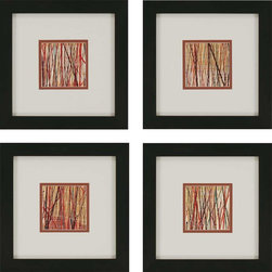 Paragon Decor - Matrix Set of 4 Artwork - Branches intertwine in shades of red, brown and beige.