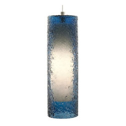 LBL Lighting - LBL Lighting Rock Candy Steel Blue 32W Pendant 1 Light Foyer Pendant - LBL Lighting Rock Candy Steel Blue 32W Pendant 1 Light Foyer PendantThe uniquely beautiful texture of this majestic pedant is created by skilled craftspeople using a laborious process. First, Steel Blue glass is mouth-blown into a cylinder shape, this cylinder shaped glass is then rolled in Steel Blue crystal frit, and finally it is fired at high temperatures to fuse the components together to create a uniquely stylish piece. Lit from within by an energy-efficient 32 watt GX24Q-3 base triple tube CFL, this piece will add both style and sustainability to your home.LBL Lighting Rock Candy Steel Blue 32W Pendant Features: