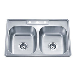 """Wells Sinkware - Wells Sinkware ADA Topmount Double Sink Pack - 20 gauge topmount, Type 304 Premium stainless steel, Scratch resistant matte finish, Heavy duty sound absorbent coating & padding, Intelli-Pressed seamless one-piece construction, Drain openings: 3 1/2"""", Drain placement: Centered, Number of faucet holes: 3, Mounting hardware included, Cutout opening: 32-5/8"""" x 21-1/2"""" w/ 1-1/8"""" radius corners, Limited lifetime warranty, Complies with ASMEA 112.19.3-2008/CSA B45.4-08, ADA compliance, Package includes: (2) Basket strainers: S8000"""
