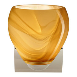 Besa Lighting - Besa Lighting 1WZ-4122HN-LED Bolla 1 Light LED Bathroom Sconce - The Bolla is a compact handcrafted glass, softly radiused to fit gracefully into contemporary spaces. This unique decor is handcrafted, with layered swirls of yellow-amber and golden-brown against white, finished to a high gloss. It's classic swirl pattern and high gloss surface has a truly florid gleam. Honey is a hand-blown glass designed to have a shiny and polished finish. The glass is gathered and rolled into shape a unique pattern is formed that cannot be replicated. This blown glass is handcrafted by a skilled artisan, utilizing century-old techniques passed down from generation to generation. Each piece of this decor has its own unique artistic nature that can be individually appreciated. The minis once fixture is equipped with a sleek arcing die cast lamp holder and matching radiused rectangular canopy.Features: