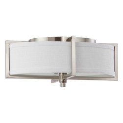 Nuvo Lighting - Nuvo Lighting 60-4348 Portia ES 2-Light Oval Flush with Slate Gray Fabric Shade - Nuvo Lighting 60-4348 Portia ES 2-Light Oval Flush with Slate Gray Fabric Shade (2) 13w GU24 Lamps Included