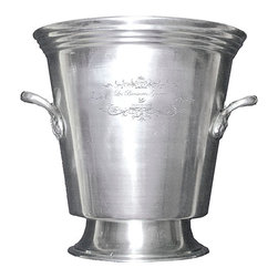 Brasserie Pewter Champagne Pot - Chill bottles and steins or even create casual, inspired displays in the Brasserie Pewter Champagne Pot, a traditional barware accent in deeply-hued brushed pewter with a tapering pedestal foot for a hint of stylish formality. Curving handles on the sides allow easier transport, especially when cold contents fill this elegant solution for serving drinks and providing plentiful ice.