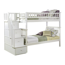 Atlantic Furniture - Atlantic Furniture Columbia Staircase Bunk Bed Twin Over Twin in White - Atlantic Furniture - Bunk Beds - AB55602