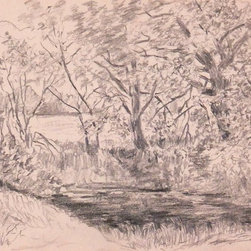 Country Brook, 1924, Artwork - Original graphite drawing of a serene brook meandering through lush scenery, 1924. Dated lower left.