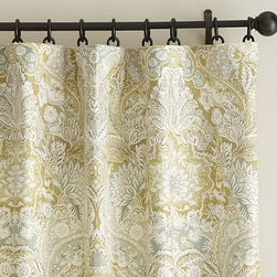 """Celeste Damask Pole Pocket, 50 x 108"""", Gold - A modern take on a beautiful 17th-century Jacquard silk scarf, our subtly textured drape lends rich color and drama to windows. 50"""" wide; available in four lengths Woven of a linen/cotton blend. Hangs from the pole pocket or converts to ring-top style with the 10 included drapery hooks. Use with our Round Rings (sold separately). Use with our Blackout Liner (sold separately) for enhanced light filtration. Watch a video on {{link path='/stylehouse/videos/videos/h2_v1_rel.html?cm_sp=Video_PIP-_-PBQUALITY-_-HANG_DRAPE' class='popup' width='420' height='300'}}how to hang a drape{{/link}}. Machine wash. Imported."""