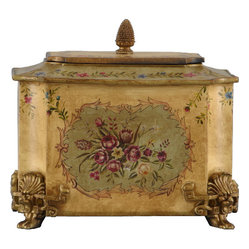 Oriental Danny - Hand-Painted Toile Box - Store your favorite cookies, coffee or chocolates in this exquisite aluminum tin. The hand-painted floral design and rich patina give this box a vintage look that is romantic and timeless.