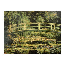"""Oriental Furniture - Japanese Bridge at Giverny Canvas Wall Art - This simple and appealing fine art print is a reproduction of a famous work, Monet's, """"The Japanese Bridge"""", from a series of paintings he did in his garden at Giverny, France. This is a substantial wall art print, a reproduction of the original on art quality canvas, stretched onto a sturdy, easy to hang, mitered wood frame. Remarkably affordable wall art and decor, without the glare, expense, or risk of glass, matting, and framing."""