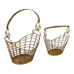 Iron Magazine Basket, Gold - An interesting weathered accessory, this iron magazine basket looks as though it's spent time at the bottom of the sea. With fluid, curving lines on the sides of the basket - echoed in the scrolled handle attachments and arching single handle - this basket adds gracious movement and flow to the home. Perfectly sized to store magazines and perhaps a favorite book, this magazine basket is deeply distressed and weathered to an almost golden patina to create texture and depth, along with attractive style.