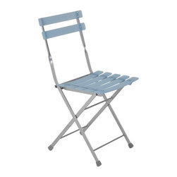 Euro Style - Slatted Folding Chairs in Blue and Aluminum F - Set of 4. Aluminum powder epoxy coated steel frame with transparent resin slats. Chair folds. Pictured in Blue/Aluminum. Seat height: 17.5 in.. 16.54 in. W x 17.52 in. L x 31.5 in. H (9.7 lbs.)