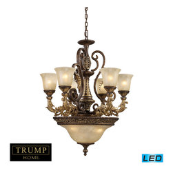 Elk Lighting - Regency LED 9-Light Chandelier in Burnt Bronze - Inspired by the scrolling design of the trump family crest, regency creates a rich and regal ambiance. The solid cast iron scrolls and burnt bronze finish compliments the delicate weathered gold leaf accents and caramel amber glass to create a dramatic and stunning collection. - LED's offering up to 7,200 lumens (540 watt equivalent) with full range dimming. Includes easily replaceable LED bulbs (120V).