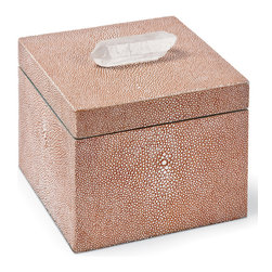 Kathy Kuo Home - Destin Coastal Beach Coral Shagreen Crystal Square Decorative Box - Petite and posh, this shagreen-covered box adds a Coastal Beach accent to a dresser, table or nightstand. Rich and vibrant, the textured coral finish is bejeweled with an oblong clear crystal on the top. It is the perfect place for your personal treasures.