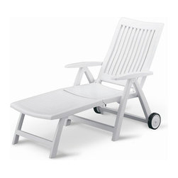 "Kettler - Roma Chaise Lounge - This chair will provide hours of poolside relaxation. The Roma series offers great comfort and piece of mind. It is resistant to all weather elements and protected against harmful UV rays. Features: -Constructed of high quality solid polymer material.-Backrest has four reclining positions and folds easily for storage.-Contoured back for added comfort.-Replaceable foot inserts.-Unique anti-collapse lever for added stability.-Roma collection.-Suitable for residential and commercial use.-Polished, semi-gloss finish with UV inhibitors.-Drop down foot section and large wheels for easy maneuverability.-Weatherproof and easy to clean with soap and water.-Made in Germany.-Frame Construction Material: High polymer resin.-Weight Capacity: 275 lbs.-Product Care: Easy to clean with soap and water.-Powder Coated Finish: No.-Mildew Resistant: Yes.-Cushions Available: No.-Fade Resistant: No.-Arms: Yes.-Glides: Yes.-Stacking: No.-Umbrella: No.-Adjustable Headrest: No.-Seating Capacity: 1.-Hardware Included: Yes.-Recycled Content: 0%.-Country of Manufacture: Germany.Dimensions: -Seat height: 16''.-Seat depth: 44.5''.-Arm Height: 24"".-Overall Height - Top to Bottom: 41.5"".-Overall Width - Side to Side: 28"".-Overall Depth - Front to Back: 44.5"".-Overall Product Weight: 30 lbs.Assembly: -Assembly Required: Yes.Warranty: -Product Warranty: 3 years residential, 1 year commercial."