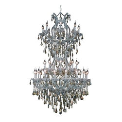"PWG Lighting / Lighting By Pecaso - Karla 34-Light 36"" Crystal Chandelier 2381D36SC-GT-SS - Karla was an Empress from 1740 to 1780 in the waning days of the Baroque period. The Baroque love of embellishment is highlighted in the elaborate crystal swags and drops that fully dress these fixtures in a look that is pure luxury. From the gold or chrome finish to the fully lavish crystal dressing, this Karla collection represents opulent sophistication."