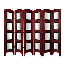 Oriental Furniture - 5 1/2 ft. Tall Photo Shoji Screen - 6 Panel - Rosewood - For a fun and creative way to present photographs, art, documents, blueprints, maps, anything you can think of, in home or commercial settings. This Photo Shoji Screen room divider is the perfect solution.