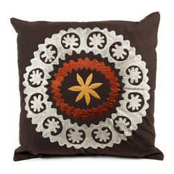 """de-cor - Psychedelic Canvas Suzani, Brown / White - The psychedelic Suzani Pillow is a beautiful addition to any living space. Suzani in Persian means """"needle work"""" and the cotton based square Suzani features intricate embroidery with silk threading."""