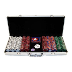 Trademark Global - 500 Tri-Color Ace King Suited Clay Poker Chip - Includes chip case, 500 chips, 2 decks of cards and 3 buttons. Chip case will provide the most protection for your investment. Black velour interior with space for 500 chips, 2 decks of cards and 3 buttons. Securely riveted handles for long lasting use. Chip case that will last a lifetime. Chips were designed with an authentic soft clay look and texture. Created with the use of the latest technology to produce a heavy chip with the real sound and feel of an actual Casino chip. Great looking exclusive chip line with a fine assortment of tri-tone colors. With card suits decorating the outer rim of the chip in either Black or White and alternating Ace/King cards. Superb detail and styling of chips. Collectors and gamers alike will want these chips immediately. Case is made of heavy duty, lightweight aluminum in brilliant silver. Chips are crafted of a solid clay-like substance with an inconspicuous metal insert. Chip size: 39 mm. Dia. (14 g.)From our experience and dedication to the gaming industry, we have been able to reproduce the quality and feel of authentic clay poker chips used at the most famous casino resorts around the world, such as the Mirage and Bellagio Resorts. These chips have the soft feel of a clay surface which makes them the most authentic poker chip available on the home gaming market. Get these quality clay chips at a fraction of the cost of authentic casino clay chips!Playing cards depicted are subject to change without notice. It is at our discretion to replace playing cards with a similar product of equal or higher quality at any time. The color and quantity of chips shown are the most popular and have been pre-selected for you, however, you can make changes per your requirements.These poker chips are copyright protected and registered with the U.S. Copyright office and are only available through us the manufacturer or our authorized dealers. It is unlawful for any of our compet