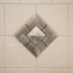 "4"" Aluminum Wall Tile with Pyramid Design - Transform your bath or kitchen with this handcrafted aluminum wall tile. It features a contemporary pyramid design and can be further customized with an optional tile frame."