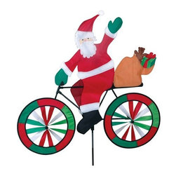 Premeir Designs - Santa Bicycle Spinner - These bike spinners are brimming with color and vitality. Beautifully made from SunTex fabric and designed for long time outdoor use. The characters cruising on these magnificent machines are cute as can be with many adorable details.