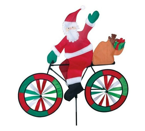 Premeir Designs - Santa Bicycle Spinner - These bike spinners are brimming with color and vitality. Beautifully made from SunTex fabric and designed for long time outdoor use. The characters cruising on these magnificent machines are cute as can be with many adorable details. Cannot be sold into