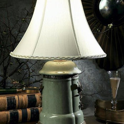 Dessau Home - Porcelain Lamp w Brass Accents in Celadon - Made from porcelain. 14 in. Dia. x 25 in. H
